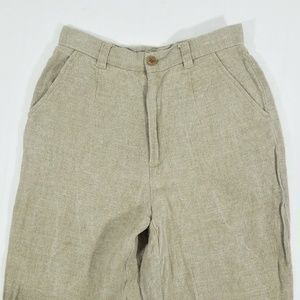 Vintage High Waist Linen Trouser Pants Tapered Leg